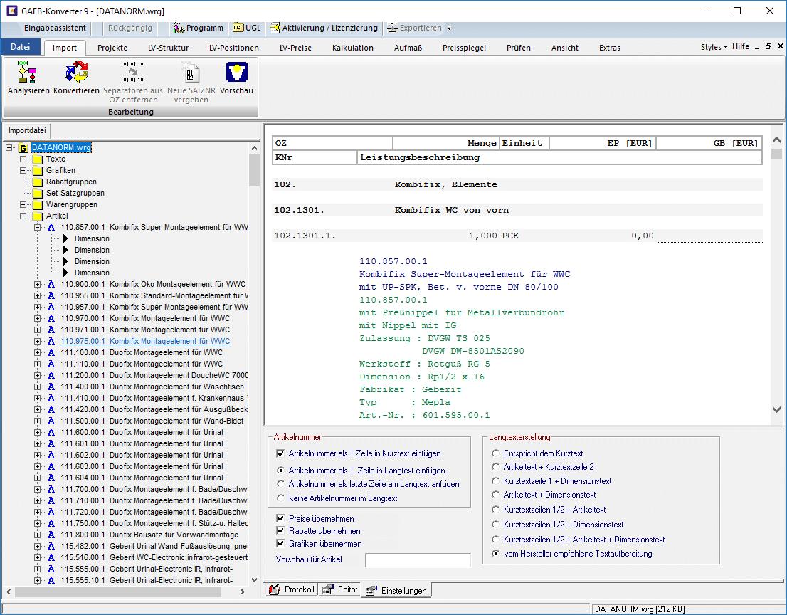 GAEB Tools - Das umfassende Softwarepaket DataNorm